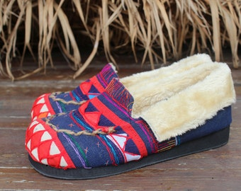 Ethnic Womens Slippers in Blue Tribal Akha Embroidery with Plush Lining- Riley