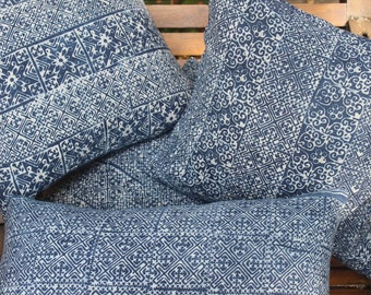 Hmong Indigo Batik Pillow In Natural Cotton Double Sided Cushion Cover 3 Patterns Free Shipping