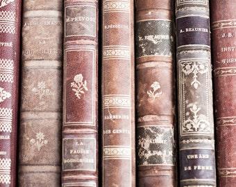 Vintage Leather Books in Paris, Paris Photography, Paris Market, French Home Decor, Large Wall Art  Decor