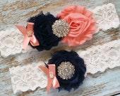 Navy and Coral Wedding Garter, Wedding Garter Set, Bridal Garter, Lace Garter, Custom Garter, Toss Garter Included