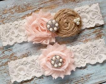 Blush Wedding Garter, Wedding Garter Set, Bridal Garter, Lace Garter, Custom Garter, Toss Garter Included