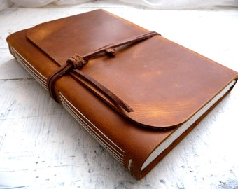Large leather journal- vintage brown pull up measures 16cm by 21.5cm