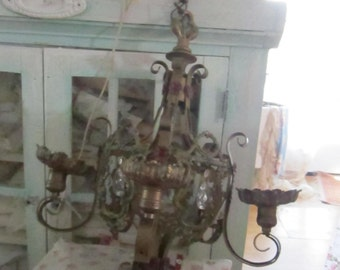 Vintage   ornate chandelier crystals  FREE SHIPPING  shabby chic prairie cottage chic