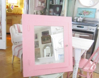 Shabby chic chippy pink Vintage cupboard  FREE SHIPPING   Farmhouse shabby decor prairie cottage