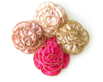 1 Pc - Fabric Flower - Gold Edging / 2 Colors Available (SEE LISTING)