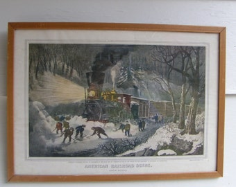 50s Reprint LITHO Currier & Ives SNOW BOUND American Railroad Scene Trains Winter