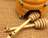 On Sale Today 36 Qty 4 inch honeybee wood mini honey dippers