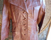 vintage 70s leather jacket, congac/dark brown, trench, mobster style ,FREE SHIPPING   36R
