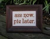 Pie - framed cross stitch