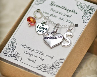Personalized Granddaughter Necklace With Birthstone and Initial - GDD - Granddaughter Necklace --  Birthstone Necklace -- Personalized Gift