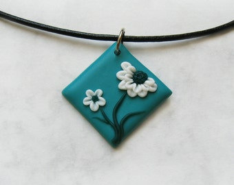 White Chrysanthemum necklace, Polymer clay pendant, Floral necklace, Chrysanthemum flowers, Flower pendant, Teal jewelry, Floral jewelry