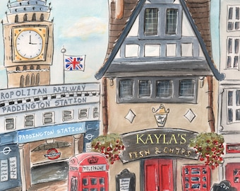 Travel Themed Nursery Wall Art, London Theme, Personalized Kid's Art, Personalized Baby Boy Gift,  London Themed Bedroom, Fish & Chips Shop