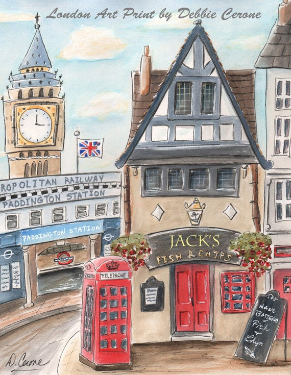 london themed red blue british art prints for boy or girl. personalized print idea for london