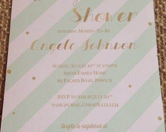 Mint, coral & gold baby shower invites