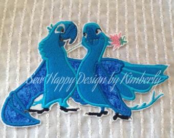 Blue Bird Inspired Iron on Appliqué Patch