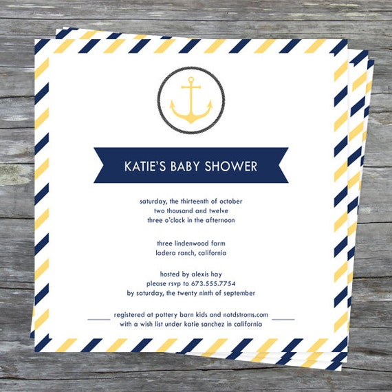 yellow and blue stripe nautical theme baby shower printable invite