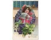 1910s Valentines Day Postcard Greeting Girl with Fur Hand Muff Violets Shamrock Vintage Raphael Tucks, Chetek Wisconsin Postmark