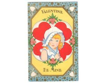 Art Deco Valentines Day Postcard, Vintage Valentine Post Card, Girl in Bonnet, Vintage 1920s Carrington postcard, Embossed, Red Hearts