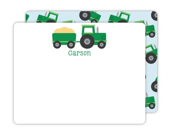 Tractor Note Cards - Personalized Flat Note Cards - Tractor Flat Note Cards - Kids Stationery - Children Stationery