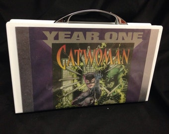 Upcycled Catwoman clutch