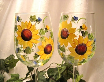 Sunflowers hand painted on a pair of pretty wine glasses