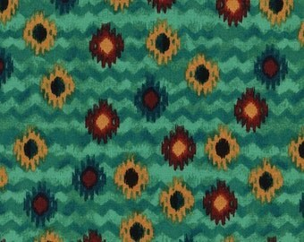 Southwest Fabric, Oasis by Timeless Treasures, Southwest Print, Oasis, Indian Fabric, Teal Fabric, 10070