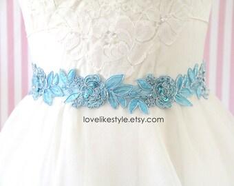 Light Blue Embroidery Flower Lace Sash , Bridal Blue  Sash, Bridesmaid Sash, Bridesmaid Headband , Head Tie ,SH-74