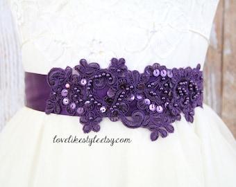 Plum Dark Purple Sequined and Beaded  Lace Sash, Dark Purple  Bridal Sash, Bridesmaid Sash / SH-40