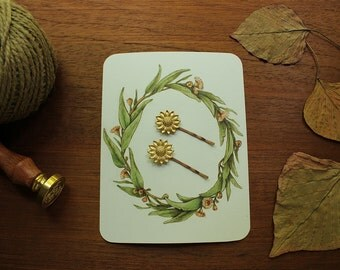 Sunflower hair clip bobby pins set of 2 / woodland wedding / bridesmaid gift / boho goddess hair clip/ golden brass floral vintage style
