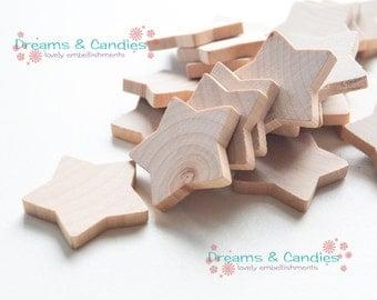 "25 Miniature Wooden Country Stars 1 3/8x3/16"" -Unfinished wooden stars -Unfinished wooden small stars -Small Stars -Wood Stars -Mini stars"