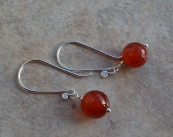 Fiery Burnt Orange Red Carnelian Sterling Silver Earrings