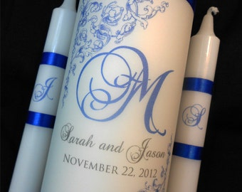 "Unity Candle ""Wraps"", Click and READ ITEM DETAILS Prior to Ordering, Monogrammed and Created in Your Wedding Colors, by No. 9"