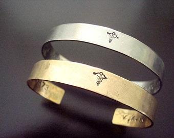 Personalized Cuff Bracelet - Mens -  Unisex - Brushed Steel - Brushed Metal - Masculine - Nugold - Handstamped - Secret Message - Medical ID