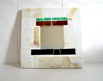 Stained Glass Wall Mirror - Cream/Brown/Green/Black