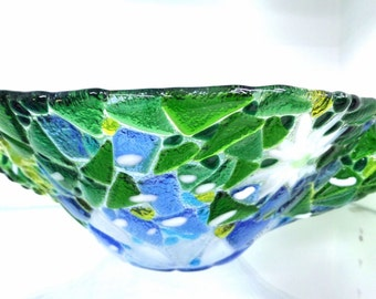 Ready to Ship - Blowing Dandelions Fused Glass Art Bowl - Mosaic - Blue, Yellow, Green, White