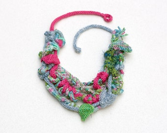 Knitted bib necklace, fiber art statement jewelry, light blue green fuchsia, OOAK
