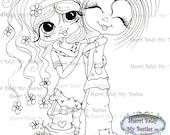 INSTANT DOWMLOAD Digital Digi Stamps Big Eye Big Head Dolls Digi Img521 Best Besties Forever By Sherri Baldy