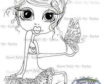 INSTANT DOWNLOAD Digital Digi Stamps Big Eye Big Head Dolls Digi  Fluttering Hearts  By Sherri Baldy
