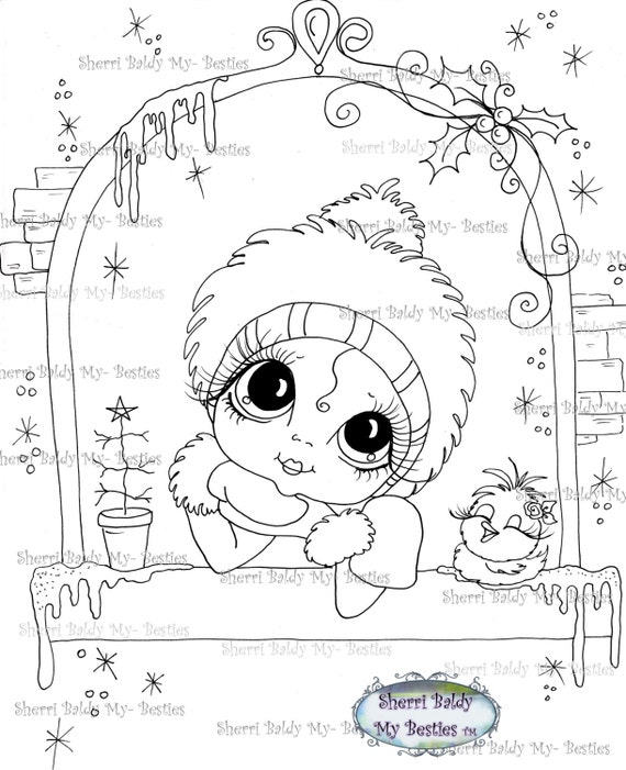 INSTANT DOWNLOAD Digi Stamps Big Eye Big Head Dolls Digi Bestie IMG451 By Sherri Baldy