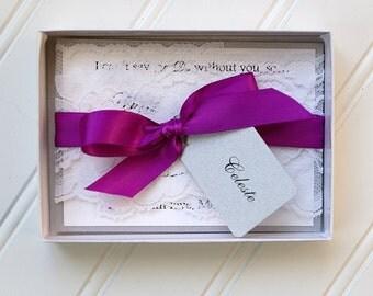Elegant Will You be My Bridesmaid Invitations- Custom Hang Tag. Plum Ribbon. Handmade Wedding Card. Lace Trim.