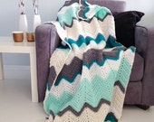 Chevron blanket - Teal & mint crochet afghan throw -> made to order