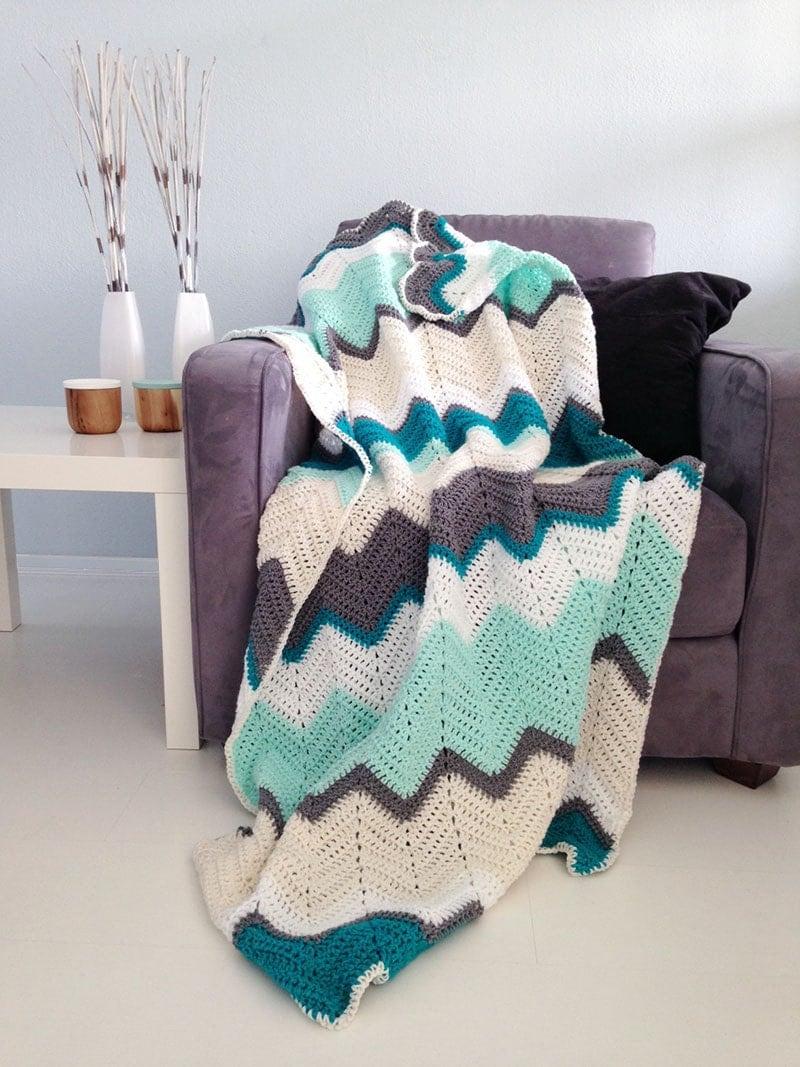 Chevron Blanket Teal Amp Mint Crochet Afghan Throw Made
