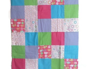 Patchwork Baby Quilt, Baby Girl Quilt, Elephants, Polka Dots, Pink and Purple, Flannel Quilt, Baby Blanket, Homemade Quilt