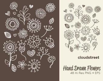 20% OFF Hand drawn flowers clipart ( doodle flower clip art ) vector illustration