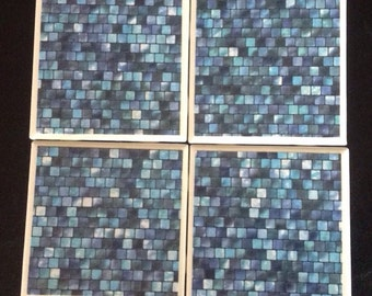 Waterfall Colored Tile Drink Coaster Set of 4