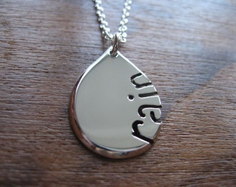 Handmade Silver Raindrop Pendant Necklace 2