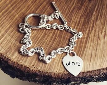 Personalized Gift - Heart Bracelet - Heart Tag Bracelet - All Sterling Silver - Everyday Wear - Best Friends, Husband Wife, Couple Bracelet