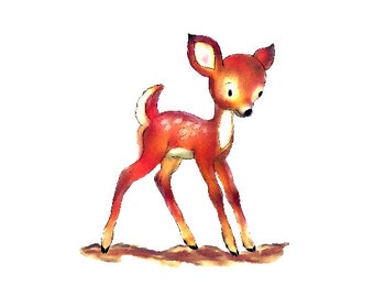 Baby Deer Watercolor - Spotted Fawn - Digital Clipart - PNG - JPG - Limited Commercial - Baby Room Decor - Print and Frame