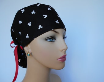 Ponytail Medical Scrub Cap - OR Surgical Cap -Mickey Mousse Head Silohuettes - Black - 100% cotton
