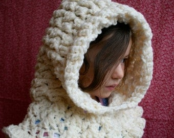 Crochet pattern, ruffle hooded cowl crochet pattern, hooded scarf crochet pattern (190)